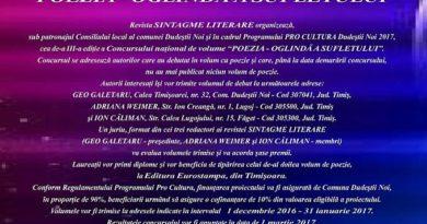 """Lugoj Expres Concursul naţional de volume de poezie """"Poezia – oglindă a sufletului"""" Revista Sintagme literare Geo Galetaru Concursul naţional de volume """"Poezia – oglindă a sufletului""""."""