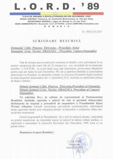 Lugoj Expres LORD'89 solicită, din nou, declanșarea procedurilor constituționale de suspendare a Președintelui României suspendarea Președintelui României scrisoare deschisă LORD'89 Loja de Onoare a Revoluționarilor din Decembrie 1989