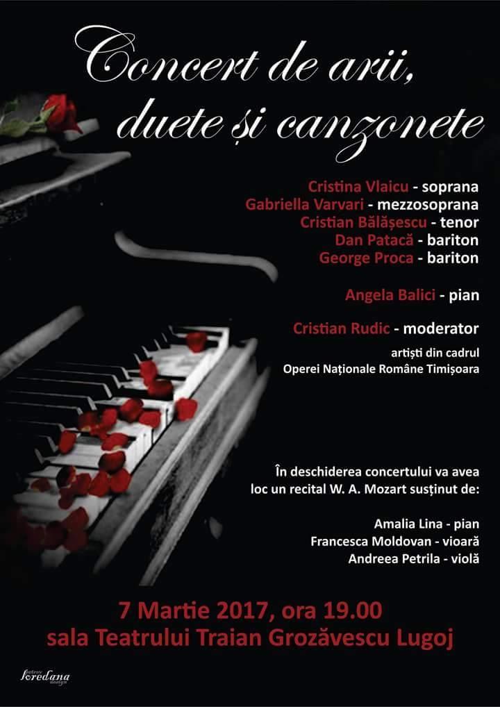 Lugoj Expres Arii, duete și canțonete, pe scena Teatrului din Lugoj Opera Mațională Română Timișoara Lugoj duete Cristian Rudic concert canțonete arii