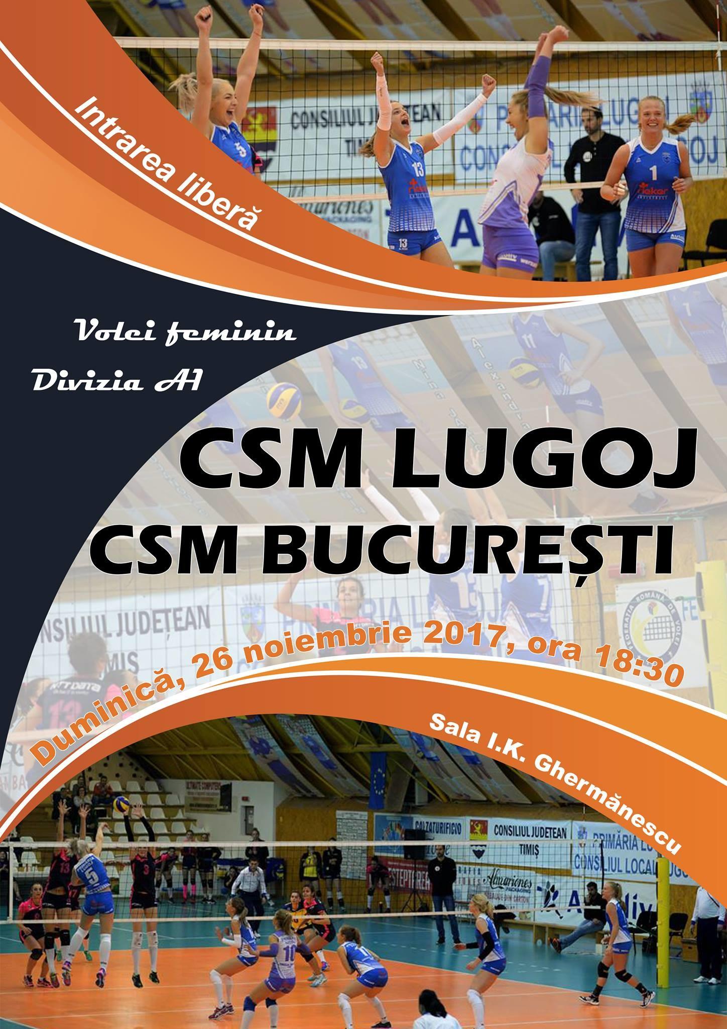 Lugoj Expres Spectacol voleibalistic: CSM Lugoj întâlnește liderul Diviziei A1 volei lider Divizia A1 CSM Lugoj CSM București
