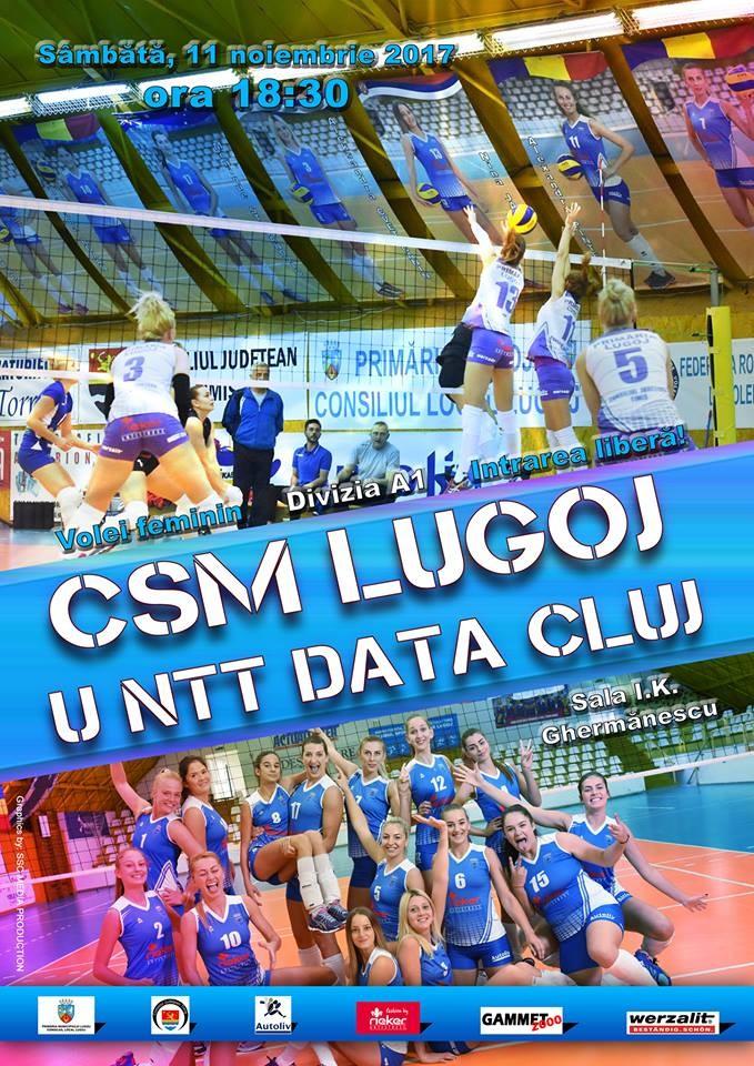 Lugoj Expres Dispută la fileu Lugoj - Cluj volei feminin volei Universitatea NTT Data Cluj fileu Divizia A1 dispută CSM Lugoj