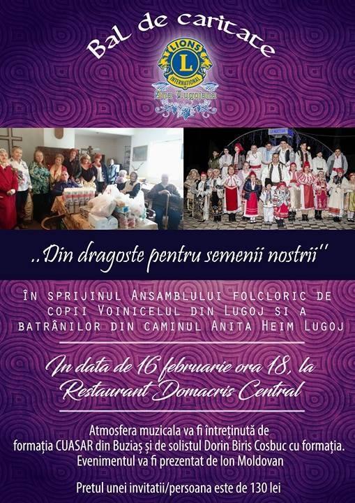 """Lugoj Expres Clubul Lions """"Ana Lugojana"""" organizează un nou bal de caritate Lions invitații fonduri colectare Clubul Lions """"Ana Lugojana"""" bal caritabil"""