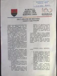 "Lugoj Expres Consiliul Local Lugoj a adoptat ""Declarația de Reunire"" cu Republica Moldova reunire Republica Moldova Prut PMP Nisporeni Lugoj declarație Consiliul Local Lugoj centenarul Marii Uniri Basarabia"