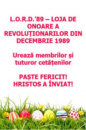 Felicitare LORD _ Loja de onoare a revolutionarilor din Decembrie 1989