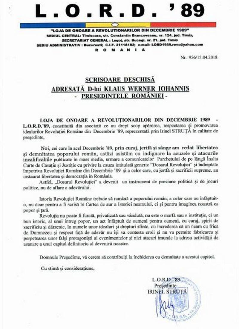 """Lugoj Expres LORD'89: """"Revoluția nu poate fi furată, privatizată sau vândută"""" scrisoare deschisă revoluție preşedintele României LORD'89 Klaus Iohannis dosarul revoluției"""
