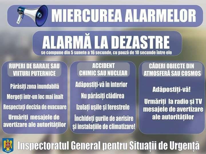 Lugoj Expres Miercurea Alarmelor! Sună, din nou, sirenele! sună sirenele mircurea alarmelor ISU Timiș alarmare publică alarmă la dezastre alarmă aeriană alarmă