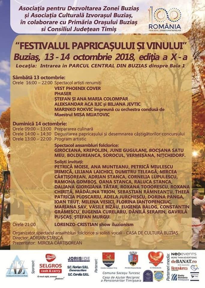 Lugoj Expres Festivalul Papricașului și Vinului de la Buziaș, la ediția a X-a stațiune spectacole papricaș găigană uriașă folclor Festivalul papricașului festival degustare Buziaș