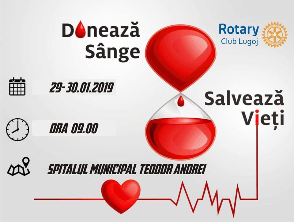 "Lugoj Expres Campania ""Donează sânge, salvează vieți!"" continuă și în 2019 sânge salvează vieți Rotary Lugoj Rotary donează sânge donare campanie Rotary"