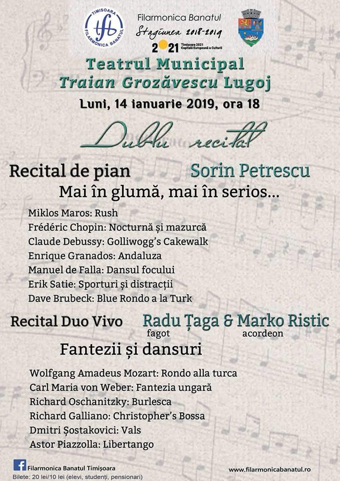 Lugoj Expres Dublu recital, cu pianistul  Sorin Petrescu și Duo Vivo Sorin Petrescu recital Radu Țaga pianist Marko Ristic Lugoj Filarmonica Banatul eveniment muzical Duo Vivo dublu recital