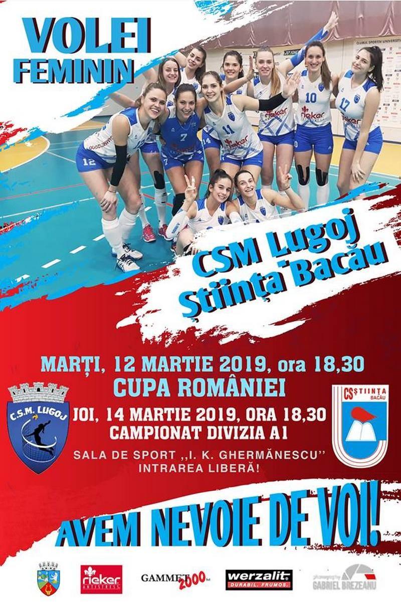 Lugoj Expres CSM Lugoj - două jocuri cu semifinalista CEV Cup 2019 volei feminin volei Știința Bacău meci Divizia A1 Cupa României CSM Lugoj