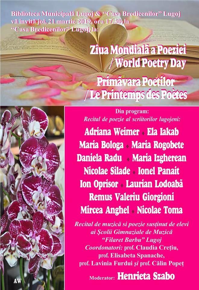 Lugoj Expres Ziua Mondială a Poeziei, sărbătorită la Casa Bredicenilor ziua mondială Ziua Mondial a Poeziei scriitori recital poetic primăvara poeților poezie poeți Lugoj Casa Bredicenilor