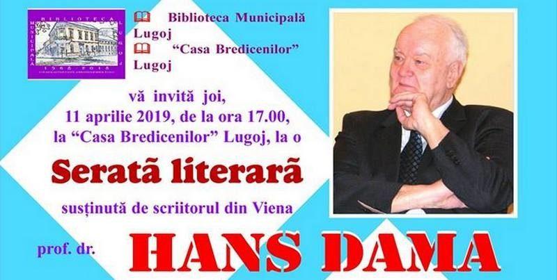 Lugoj Expres Serată literară, cu scriitorul Hans Dama, la Casa Bredicenilor ziua mondială a cărții Viena serată literară scriitor moment muzical Lugoj Hans Dama Casa Bredicenilor