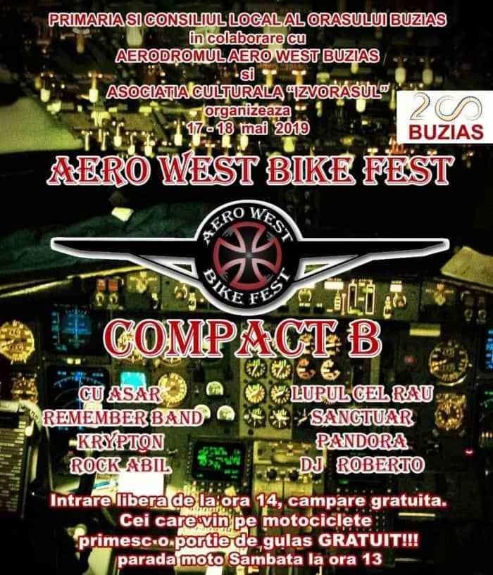 Lugoj Expres Vineri și sâmbătă, la Buziaș: Aero West Bike Fest zbor cu avionul tombolă rock premii paradă moto festival concursuri concert Compact B Buziaș Aero West Bike Fest Aero West