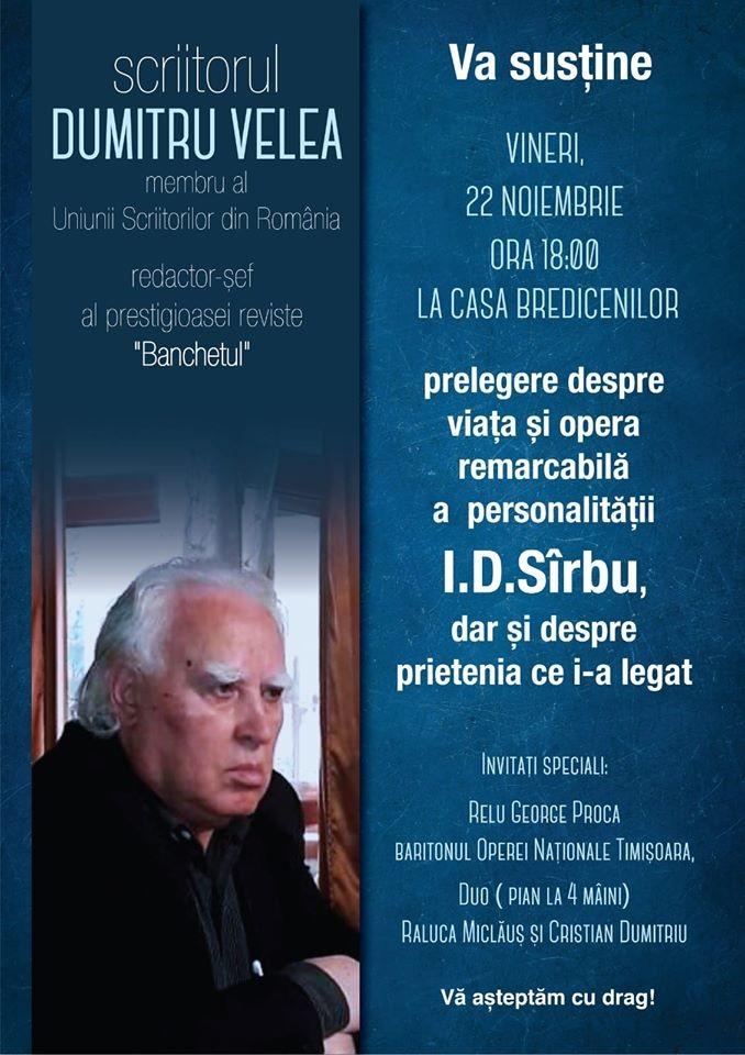 Lugoj Expres Seară culturală, la Casa Bredicenilor seară culturală scriitor prelegere moment muzical I.D. Sârbu eveniment cultural Dumitru Velea Casa Bredicenilor