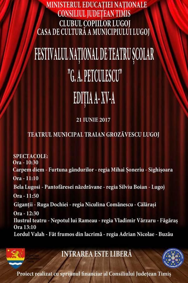 """Lugoj Expres Festivalul Național de Teatru Școlar """"G. A. Petculescu"""", la cea de-a XV-a ediție teatru școlar G.A. Petculescu festival Clubul Copiilor Lugoj Banat"""