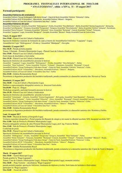 """Lugoj Expres Începe Festivalului Internaţional de Folclor """"Ana Lugojana"""" - ediția a XIV-a. Vezi programul manifestării sărbătoare port popular paradă Lugoj folclor festival ansambluri folclorice ana lugojana"""