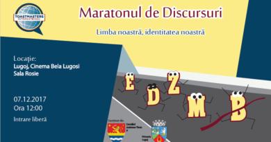 "Lugoj Expres Maraton de discursuri, la cinematograful ""Bela Lugosi"" maraton Limba noastră identitatea noastră discursuri cinema Bela Lugosi Asociația Timișoara Toastmasters"