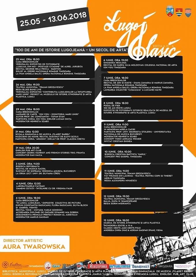"""Lugoj Expres Festivalul Internațional """"Lugoj Clasic"""" - ediția a III-a. Iată programul evenimentelor un secol de artă programul festivalului Lugoj Clasic istorie lugojeană identitatea Lugojului festival internațional 100 de ani"""
