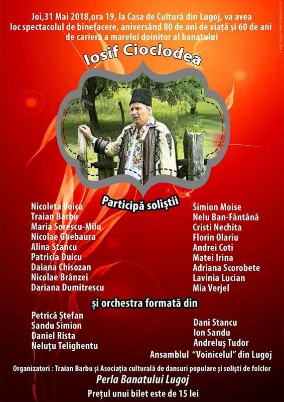 Lugoj Expres Spectacol de binefacere: Iosif Cioclodea - 80 de ani de viață și 60 de ani de carieră spectacol folcloric spectacol Nicoleta Voica Iosif Cioclodea doinitorul Banatului binefacere aniversare