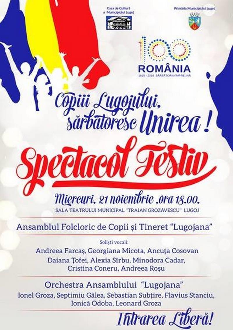 Lugoj Expres Copiii Lugojului sărbătoresc Unirea Unirea spectacol folcloric spectacol festiv Lugojana copiii Lugojului ansamblul de copii