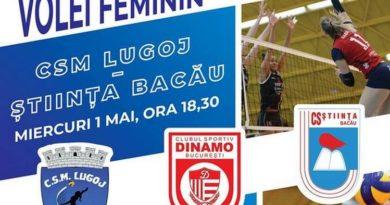 Lugoj Expres CSM Lugoj - două meciuri pentru... Cupele Europene volei feminin volei Știința Bacău prima ligă premiera play-off două meciuri Divizia A1 Dinamo București cupele europene CSM Lugoj