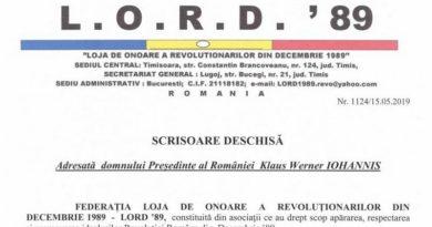 """Lugoj Expres LORD'89: """"Revoluția trebuie să rămână nepătată în memoria poporului român"""" scrisoare deschisă revoluție preşedintele României LORD'89 Klaus Iohannis"""
