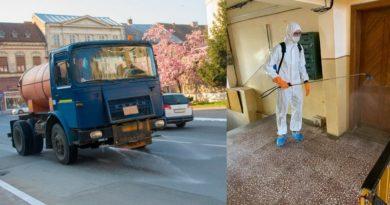 Lugoj Expres Se dezinfectează străzile și scările blocurilor din Lugoj străzi scări de bloc Lugoj dispozitive dezinfecție dezinfectant cartiere autorități