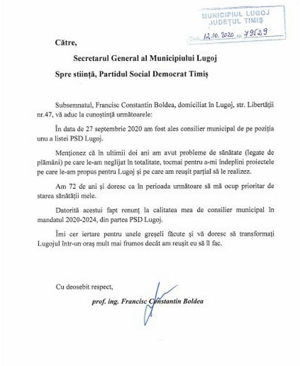 Lugoj Expres Francisc Boldea a renunțat și la mandatul de consilier local PSD PSD Timiș PSD Lugoj PSD mandat Francisc Boldea demisie consilier municipal consilier local